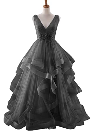 HEAR Womens Ball Gown Prom Dresses V Neck Quinceanera Dress Plus Size Hear105 Black 0