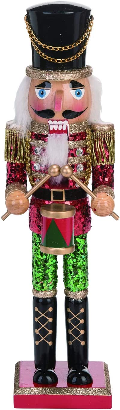 Whimsical Wooden Traditional Christmas Nutcracker Soldier Figure with Glitter Accents – Tabletop Holiday Decoration - Mantle or Office Desk Decor