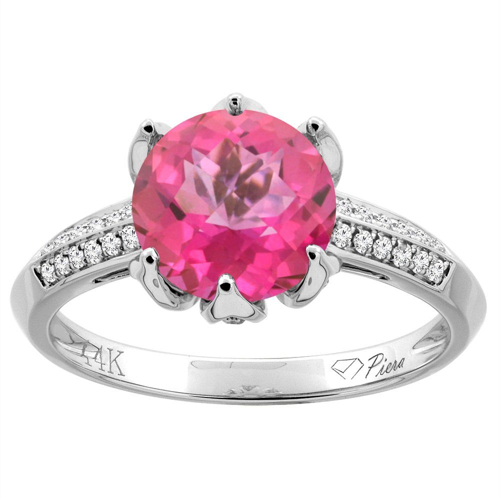 Amazon.com: 14K Gold Natural Pink Topaz Ring Round 8 mm Diamond ...