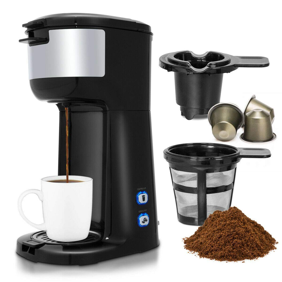 Costway Coffee Maker, Portable Auto Shut-off 2-in-1 Coffee Maker, Single Cup Coffee Brewer Built-in Filter, Thermal Drip Instant Coffee Machine, Ground Coffee and Coffee Capsules Coffee Machine 1000W(Black) by COSTWAY