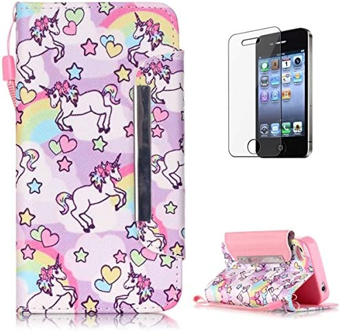 [해외]iPhone 44S Premium Leather Wallet Case [Free Screen Protector]KaseHom Cute Animal Unicorn Rainbow Pattern Design Folio Flip Magnetic Shockproof Protective PU Leather Case Cover Skin Shell / iPhone 44S Premium Leather Wallet Case [F...