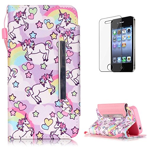 iPhone 4/4S Premium Leather Wallet Case [Free Screen Protector],KaseHom Cute Animal Unicorn Rainbow Pattern Design Folio Flip Magnetic Shockproof Protective PU Leather Case Cover Skin Shell