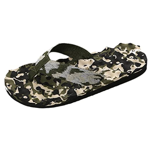329b38c609a9 Amazon.com  Enerhu Men Camo Flip Flops Beach Slippers Casual Shoes Home  Sandal Indoor Outdoor Quick Drying  Clothing