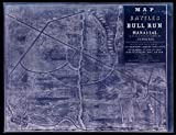 18 x 24 Blueprint Style Reproduced Old Map 1861Map Battles on Bull Run Near Manassas, 21st July 1861 on The line Fairfax & Prince William Co[unti] ES in Virginia, Fought Between The Force