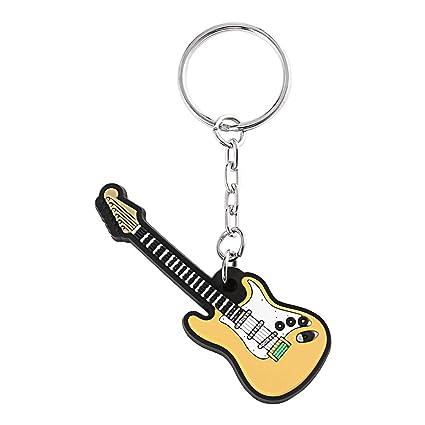 Delicacydex Novedad Guitarra eléctrica Llavero Llaveros de Silicona Llaveros Llavero Colgante Llaves Llavero Decorativo Juguete Titular