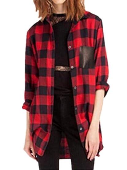 BESTHOO Camisas a Cuadros Mujer Top Blusa de Moda de Manga Larga Casual Camisetas Botones T