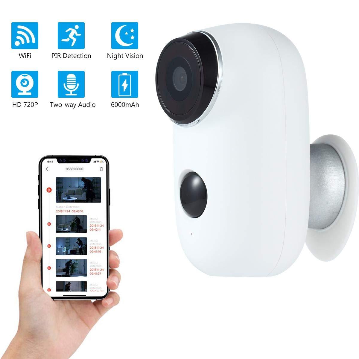 Audio Bidirezionale a 2 Vie 6000mA Batteria Ricaricabile FOONEE Telecamera Video Sorveglianza Camera IP Sensore Movimento Visione Notturna 720p HD Videocamera di Sorveglianza