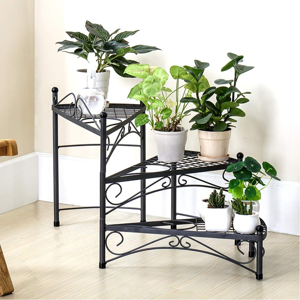 GYAO-Scaffali porta piante Iron Flower Shelf Living Room Storage Rack Space Simple Balconcino Rack Rack di stoccaggio Multistrato
