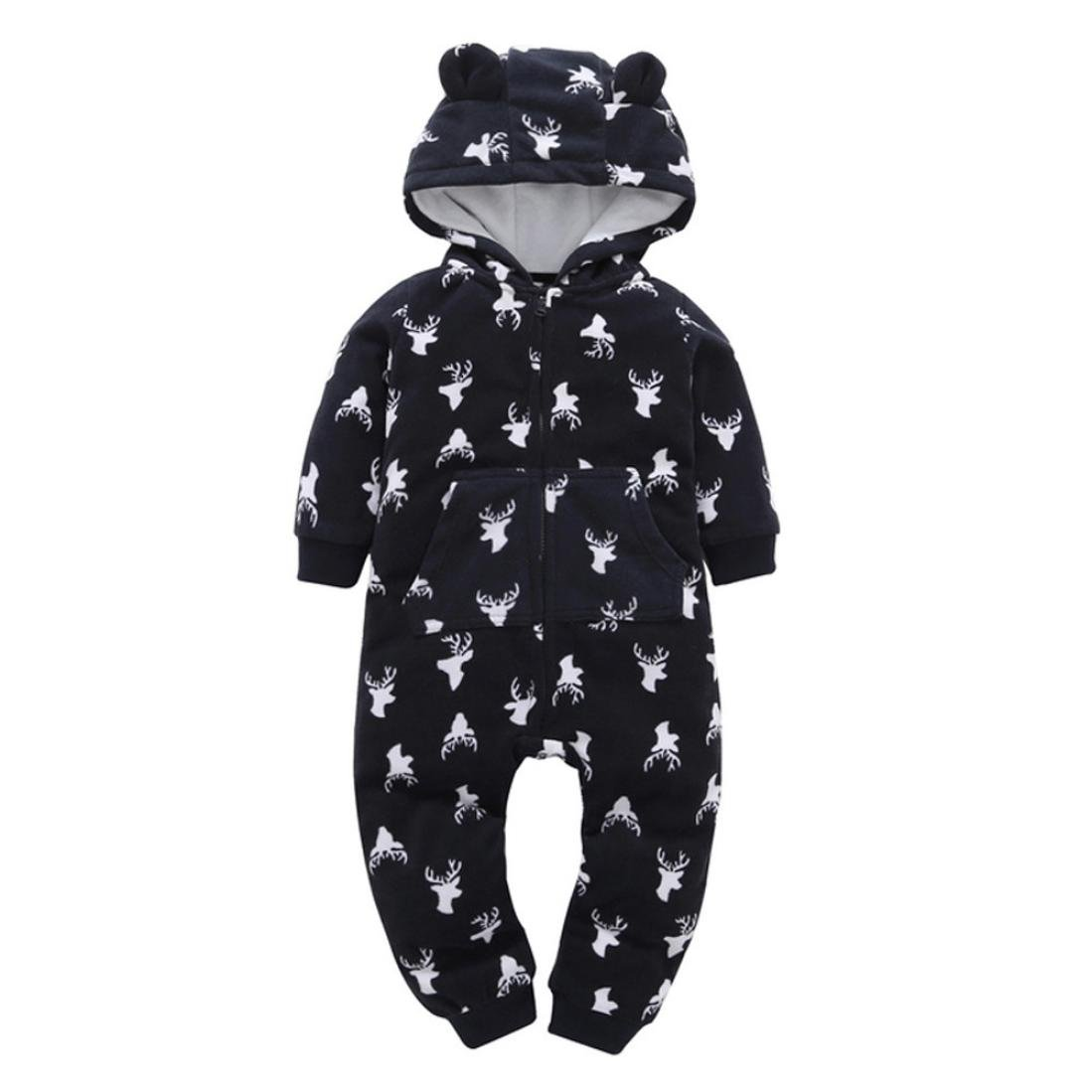 Gotd Newborn Infant Baby Boys Girls Thicker Christmas Print Hooded Romper Jumpsuit Home Clothes Outfits Winter Fleece (6-9 Months, White) Goodtrade8