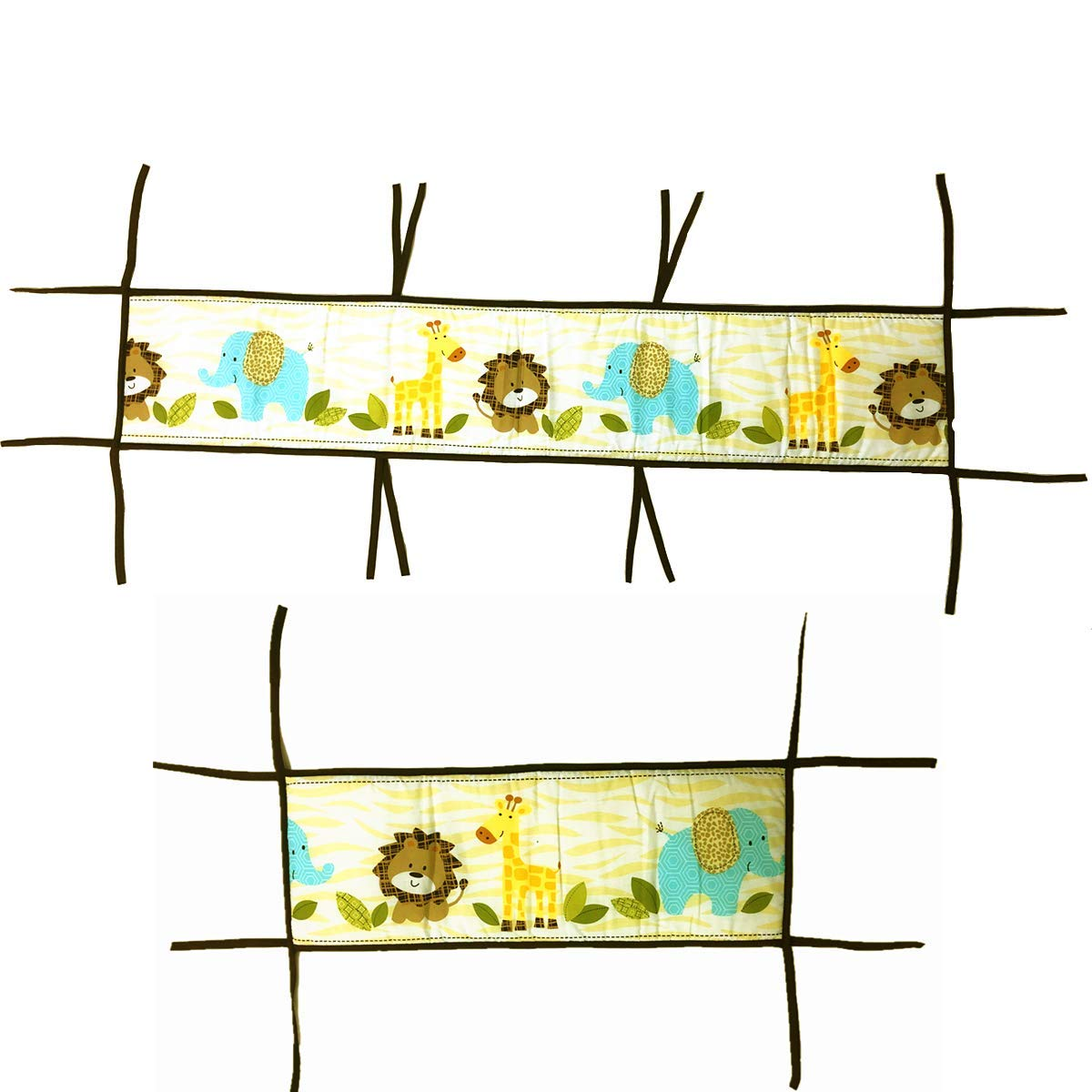 Amomo Crib Bumpers Breathable Baby Bumper Pads 4 Piece for Baby Girl Boy (Light Yellow-Animals) by Amomo