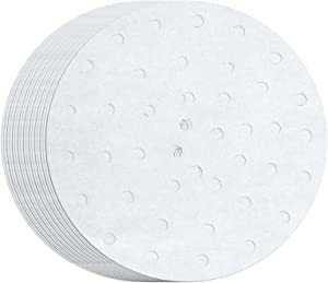 MineDecor 100 Count Perforated Parchment Paper Bamboo Steamer Liners for 12 inch Air Fryer Parchment Paper