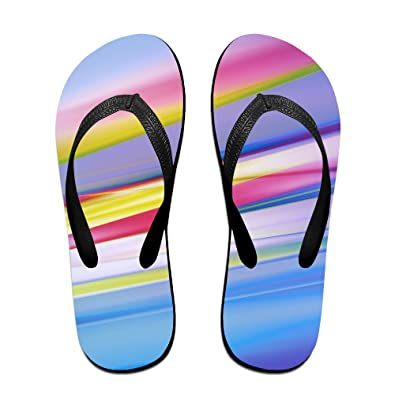 e35f932b195674 Jinqiaoguoji Design Summer Background Lines Blue Orange Violet Yellow  Womens Sandals Beach Sandals Pool Party Slippers