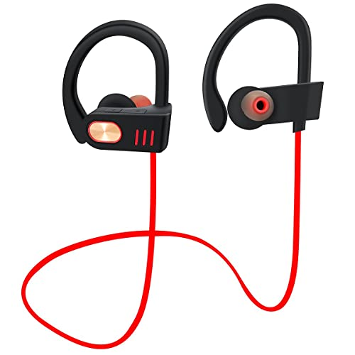 Beleen Bluetooth headphones with Mic In Ear Earbuds V4.1 Sweatproof IPX5 Waterpoof Premium Sound with Bass Noise Reducing Secure Fit Headset for Workout and Sports Gym(Red)