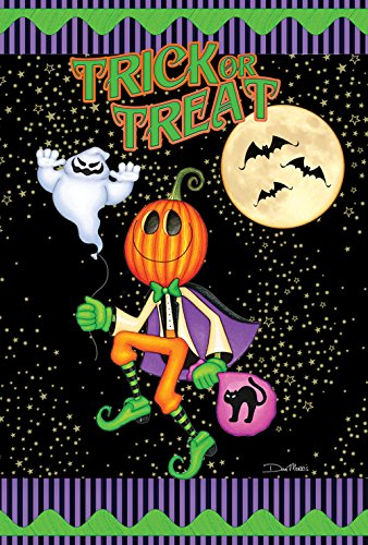 Toland Home Garden Pumpkin Head 28 x 40 Inch Decorative Trick or Treat Spooky Halloween Ghost Moon House Flag -