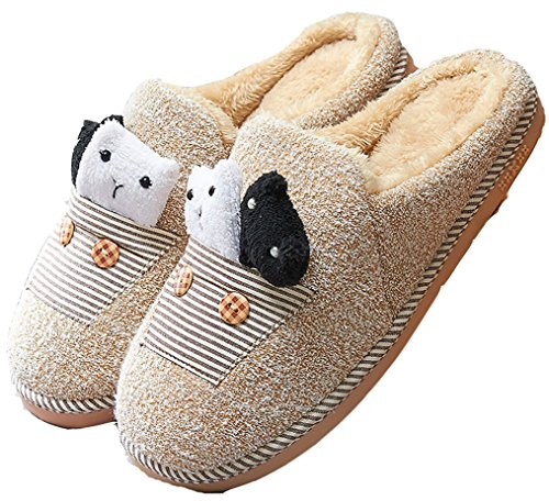 Dsmor Heren Beer Winter Slippers Indoor Vloer Slippers Warme Slippers Geel
