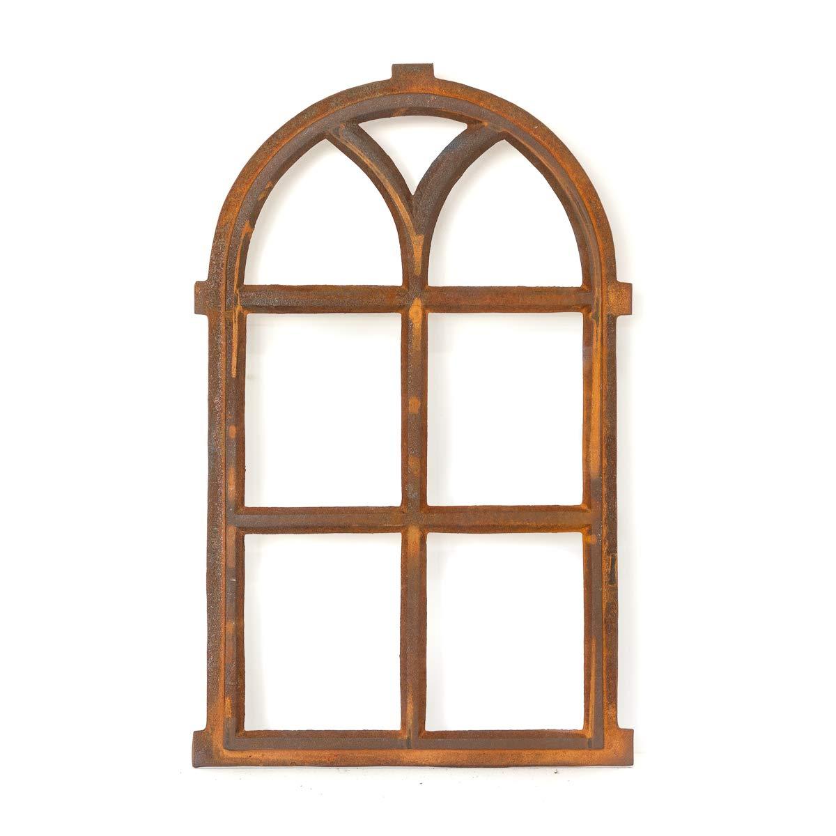 Antikas - ventana hierro fundido con arco de medio punto para muro de jardí n - ventana rú stica de 66 x 39