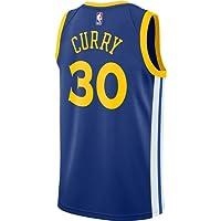 Curry Men's White Blue Warriors Swingman Jersey Shirt 17/18