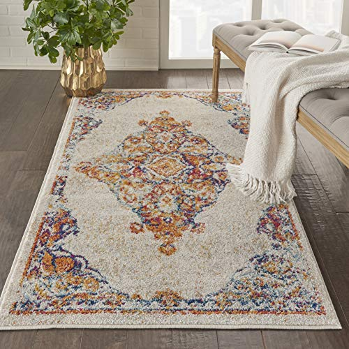 - Nourison PRV02 Persian Vintage 3' x 5' Bohemian Style Area Rug, Ivory/Multi 3'3