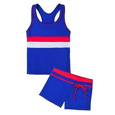 Suyye Girls Swimsuit Two Piece Tankini Swimwear with Boyshort