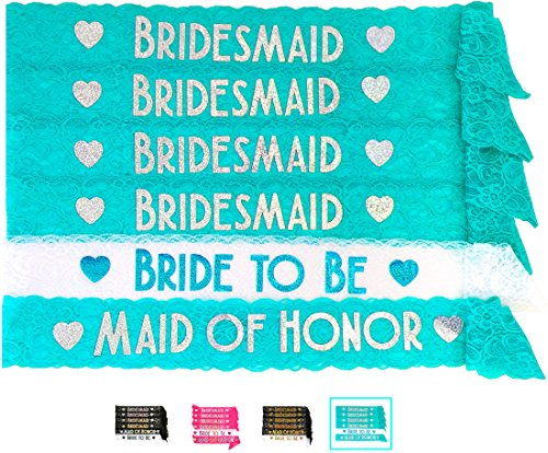 Bride & Bridesmaid 6pc Lace Sash Set - Gorgeous Party Favors for Bachelorette Party, Bridal Shower & Wedding Party (Aqua & (Turquoise And Silver Party Decorations)