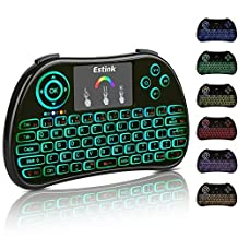 Colorful Backlit Mini Wireless Keyboard, 7 Colours Backlit 2.4Ghz Portable Wireless Handheld Keyboard with Touchpad Mouse Rechargeable Li ion Battery for PC, PAD, Google Android TV Box, Xbox 360, Smart TV, Raspberry Pi 3, HTPC, IPTV