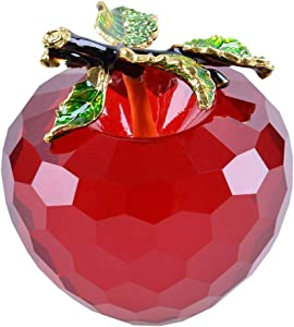 LONGWIN Faceted Crystal Apple Figurine 80mm (3.1 inch) Cut Faceted Glass Paperweight Red