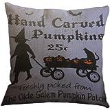 Nunubee Cotton Linen Pillow Covers 18 x 18 Pillowcases Throw Pillows Case For Sofa Witch Halloween