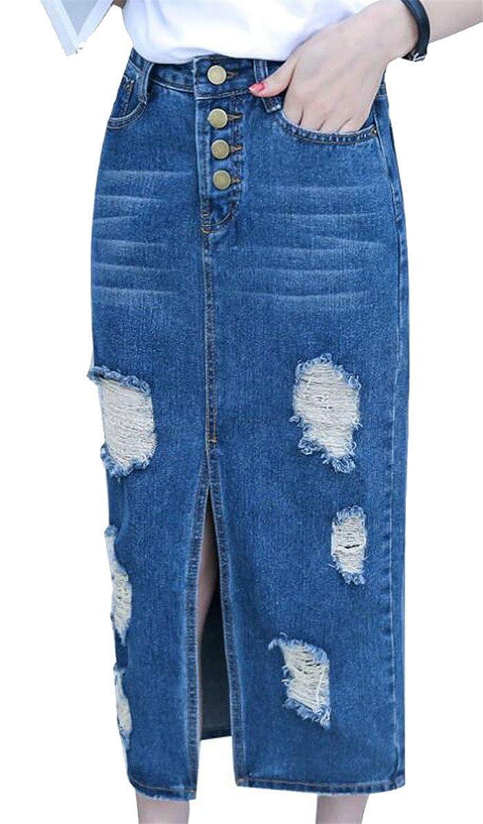 Qiangjinjiu Womens High Waist Ripped Hole Split Stylish Bodycon Dress Cowboy Skirt