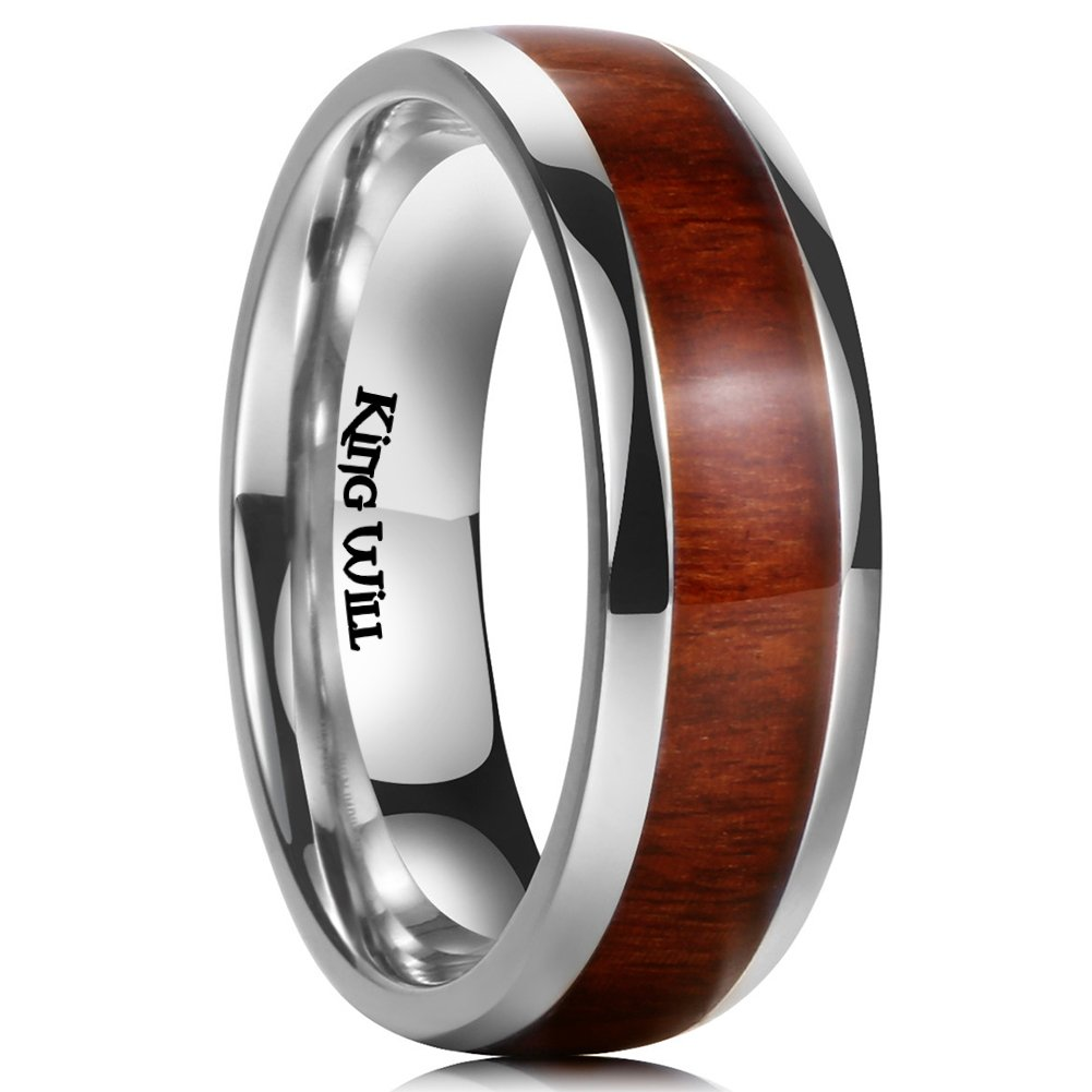 King Will 7MM Titanium Ring Koa Wood Inlay Comfort Fit Wedding Band For Men Women Birthday
