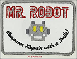 MR Robot Fsociety TV Show White Embroidery Patch Halloween Costume Badge Easy Iron On