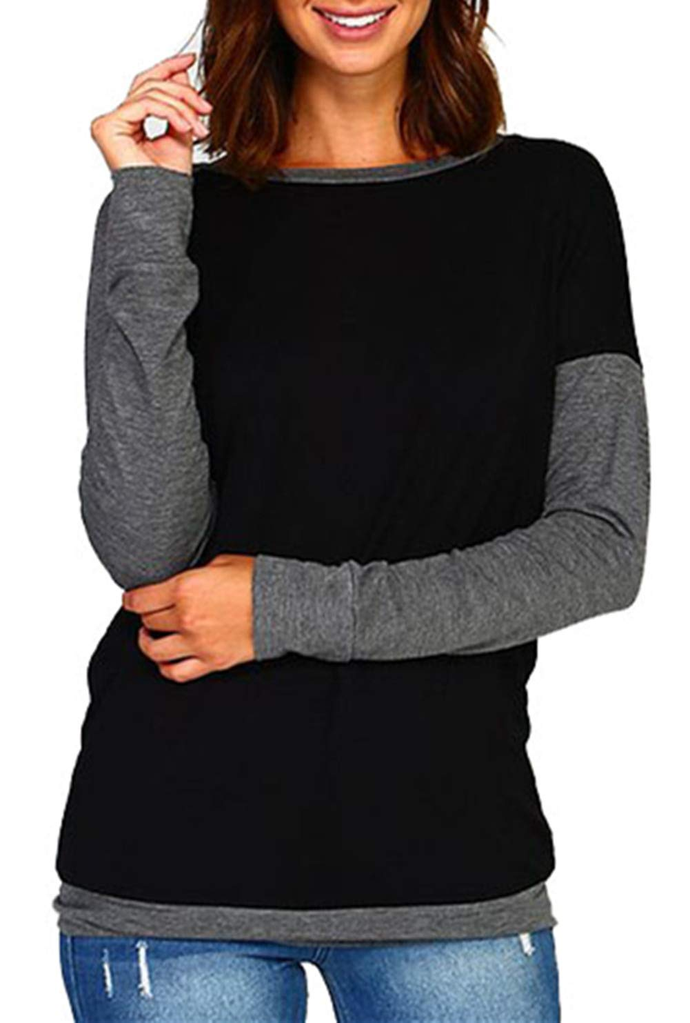 onlypuff Women's Casual Solid T-Shirt Batwing Long Sleeve Tunic Tops Round Neck Loose Comfy with Pockets onlypuffYS0015