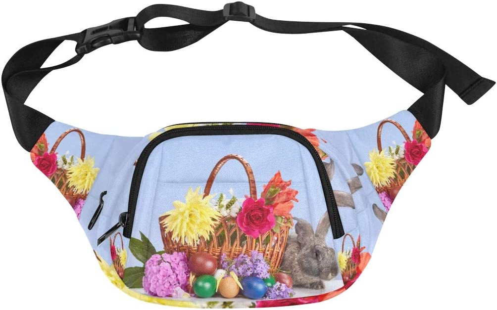 The Rabbit In The Flower Basket Fenny Packs Waist Bags Adjustable Belt Waterproof Nylon Travel Running Sport Vacation Party For Men Women Boys Girls Kids