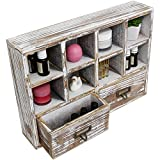 Rusoji Wall Mounted or Desktop Rustic Style Torched Wood Shadow Box Cubby Storage with 2 Drawers, Brown