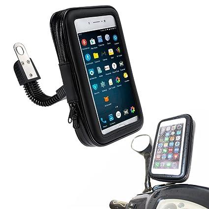 "5,5/"" Soporte M/óvil Universal para Motocicleta Ajustable 360/º Negro"