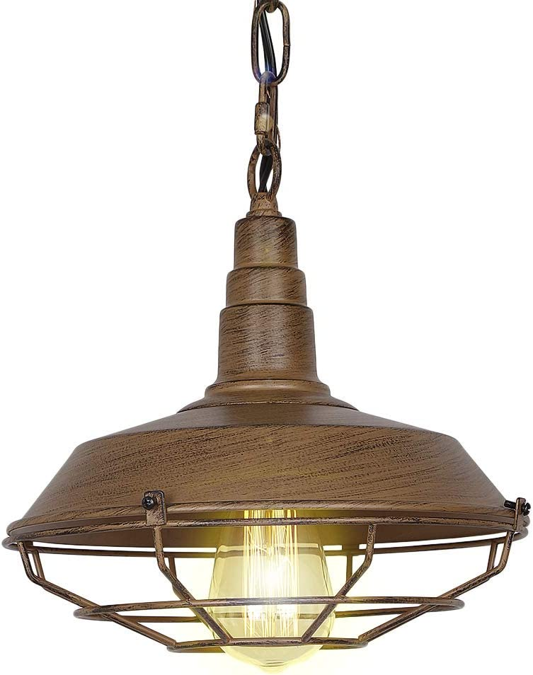 Eumyviv P0009 1-Light Industrial Vintage Metal Pendant Light with Iron Rust Shade Rustic Retro Edison Incandescent or LED Vintage Hanging Light Fixture