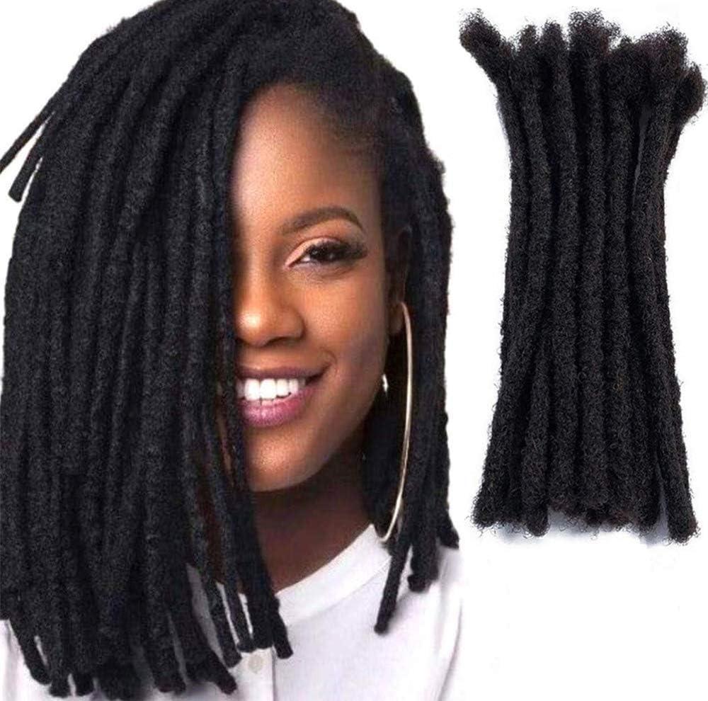 JISHENG Extensions de cheveux 100% humains Dreadlock Locs Entièrement fait à la main10brins 12 pouces Noir naturel 0,6 cm