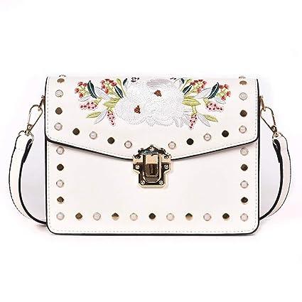 888f1b6b06f3 Amazon.com: XLMLJYX Women Embroidery Flower Flap Bag Designer Chains ...
