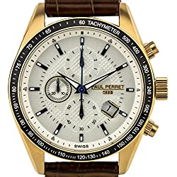 Paul Perret Esperto Men's Chronograph Watch w/ Textured Leather Strap