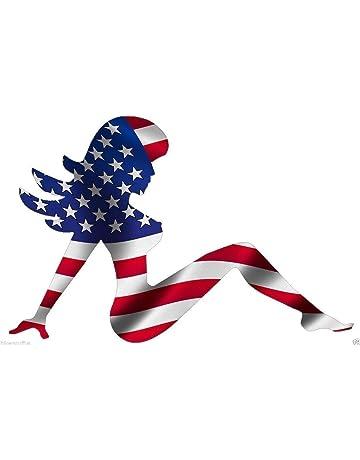 MUDFLAP GIRL AMERICAN USA FLAG BUMPER STICKER HARD HAT STICKER LAPTOP STICKER TOOLBOX STICKER HELMET STICKER