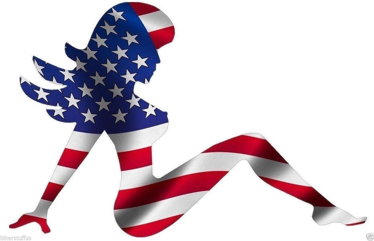 MUDFLAP GIRL AMERICAN USA FLAG STICKER LAPTOP STICKER TOOLBOX STICKER HARD HAT STICKER HELMET STICKER WINDOW STICKER