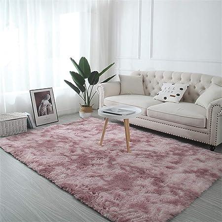 Troysinc - Alfombra de pelo largo, lavable, moderna, mullida, para salón o dormitorio, poliéster, rosa, 140 x 200 cm: Amazon.es: Hogar