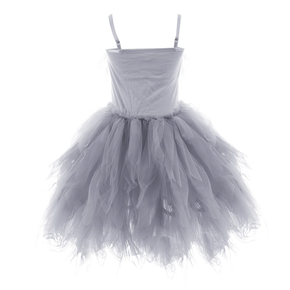 OBEEII Little Girl Swan Princess Feather Fringes Tutu Dress Pageant Party Wedding Dance Formal Birthday Short Tiered Gown