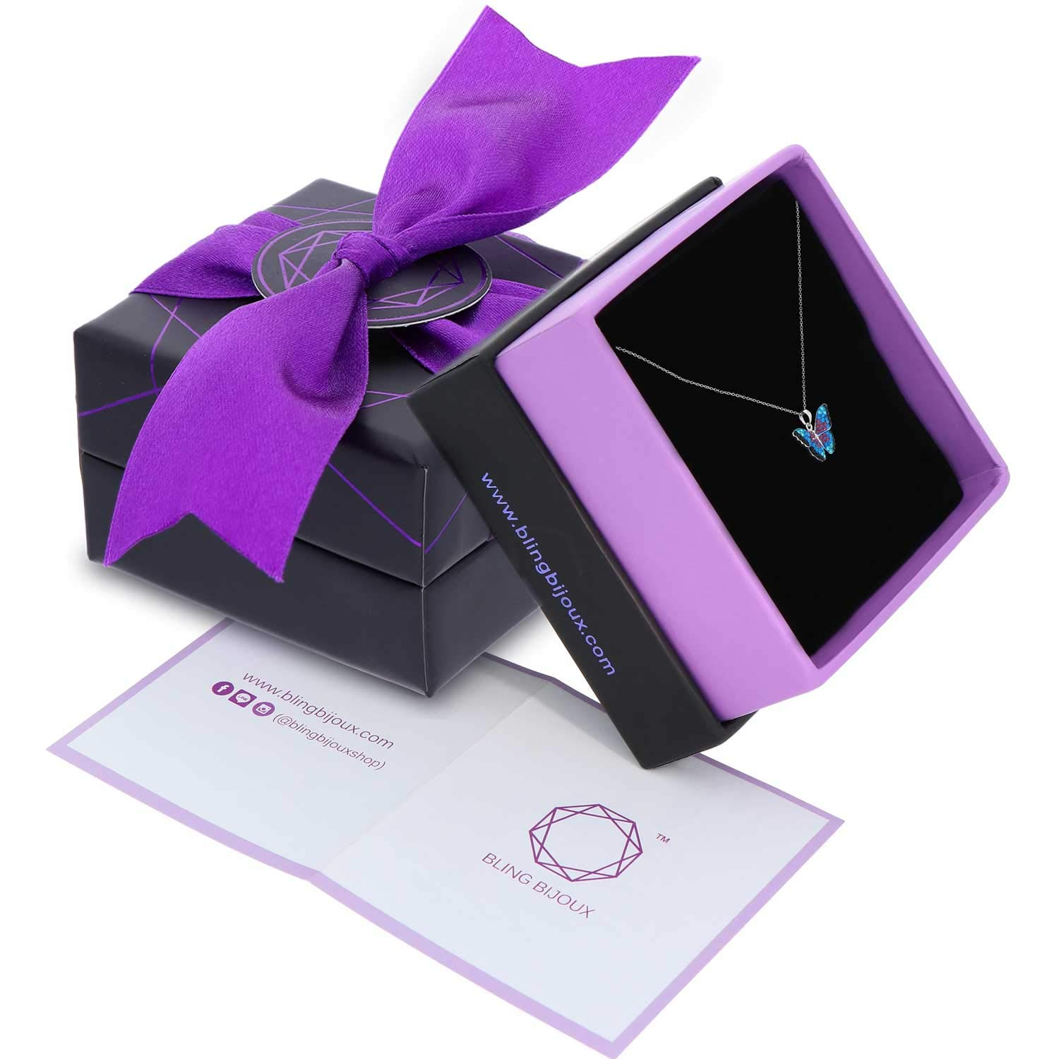 BLING BIJOUX Jewelry Blue Rainbow Crystal Monarch Butterfly Pendant Never Rust 925 Sterling Silver Natural and Hypoallergenic Chain with Free Breathtaking Gift Box for a Special Moment of Love by BLING BIJOUX Jewelry (Image #2)