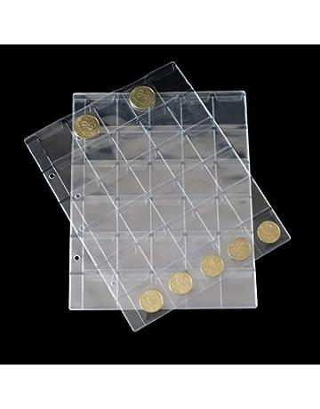 10eba5a2b7 LZWIN 30 tasche plastica moneta titolari stoccaggio collette album caso  timbro moneta protettore inserisci pagina fogli