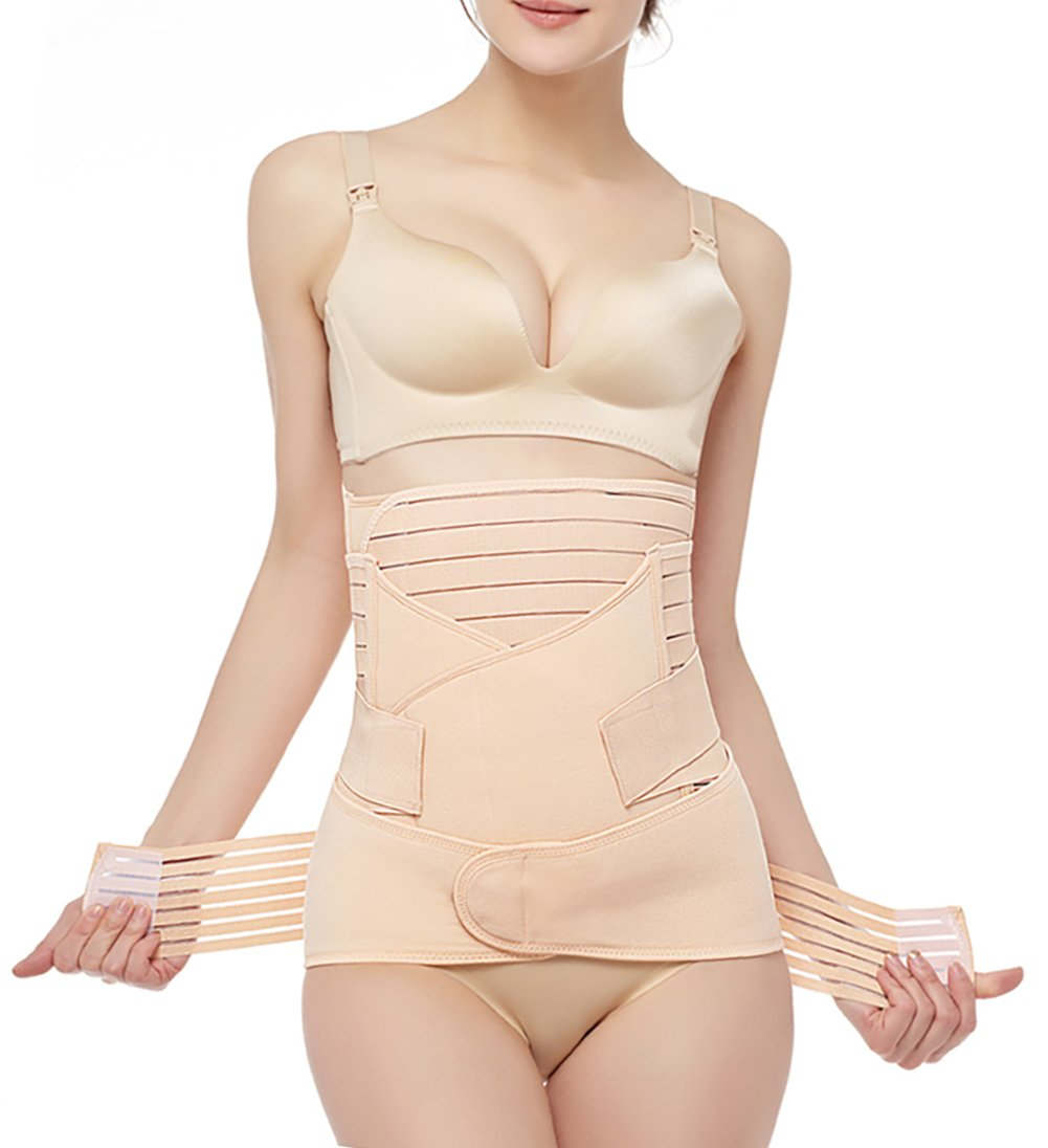 Gepoetry Postpartum Belly Wrap 3 In 1 Post Partum Support Girdles C-Section Recovery Belly Waist pelvis Wrap Postnatal Trainer Belt (One Size, Nude)