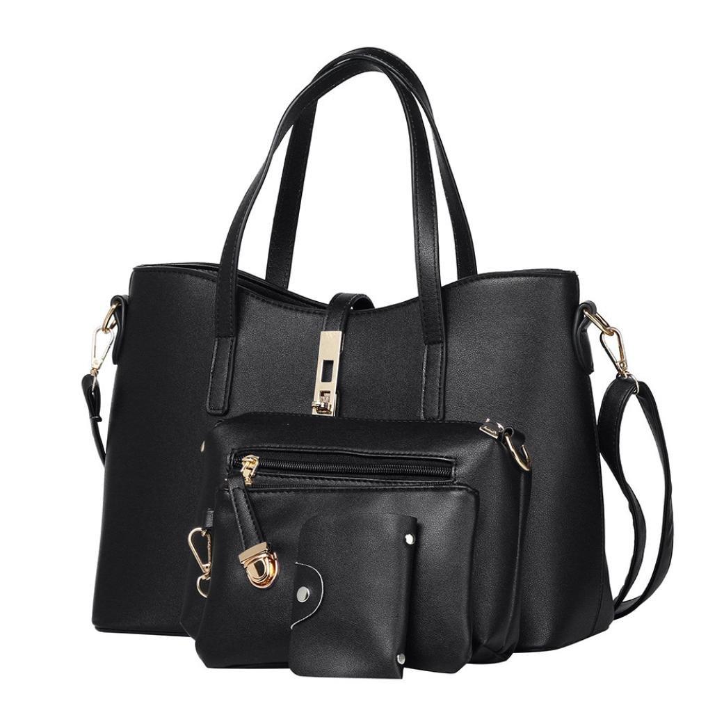Hot Sale 4Pcs Crossbody Bag,Rakkiss Women Shoulder Bag Messenger Bag Crad Bag Leather Handbags Top Handle Vintage Purse