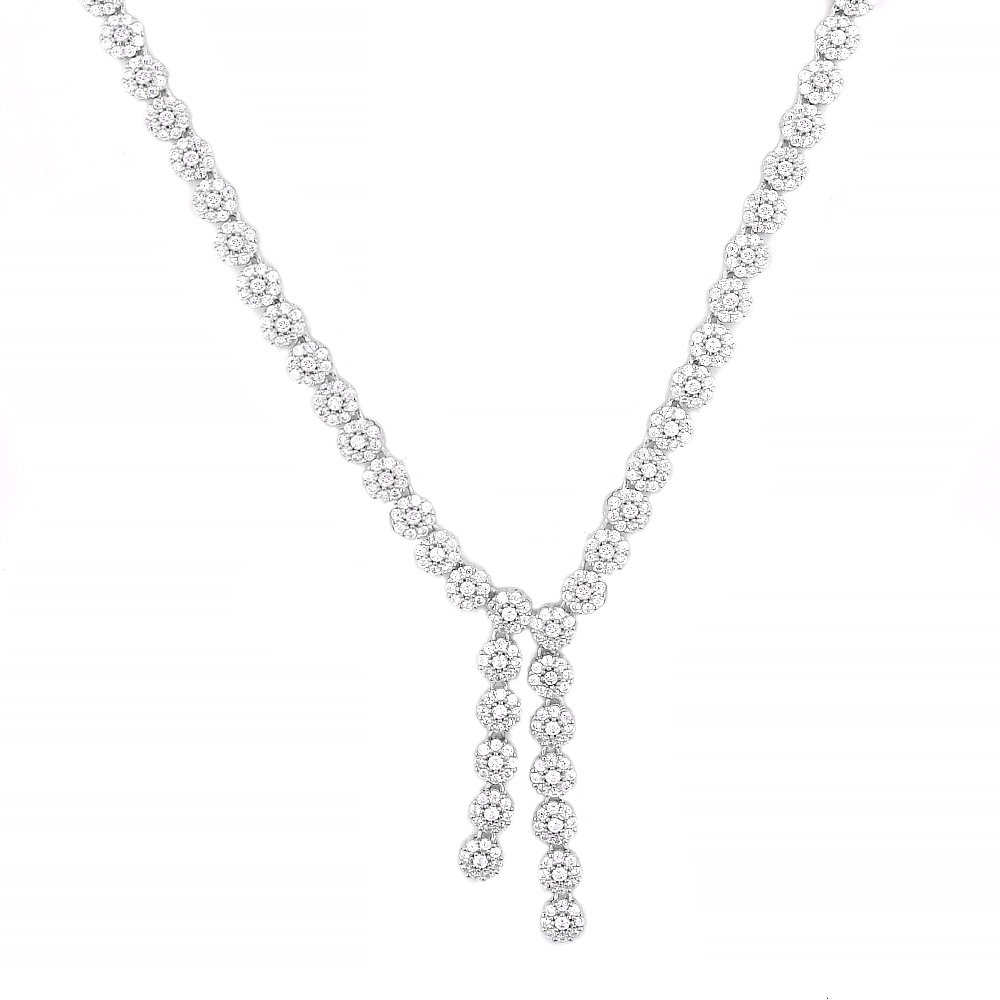 Even Jewels, EV9-9035 Lariat Flower Necklace in Sterling Silver 17'' (Silver)