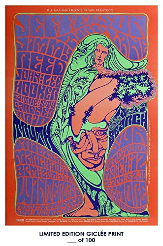 Reprint Concert Poster - RARE POSTER thick bill graham JEFFERSON AIRPLANE music concert REPRINT #'d/100!! 12x18