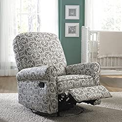 New! Elegant Soft Grey Gray White Cream Pattern Chair Living Room Chairs Recliners Recliner Bed Like Reclining Padded Seating Home Theater Family Seats Seat Modern Contemporary Match Your End Coffee