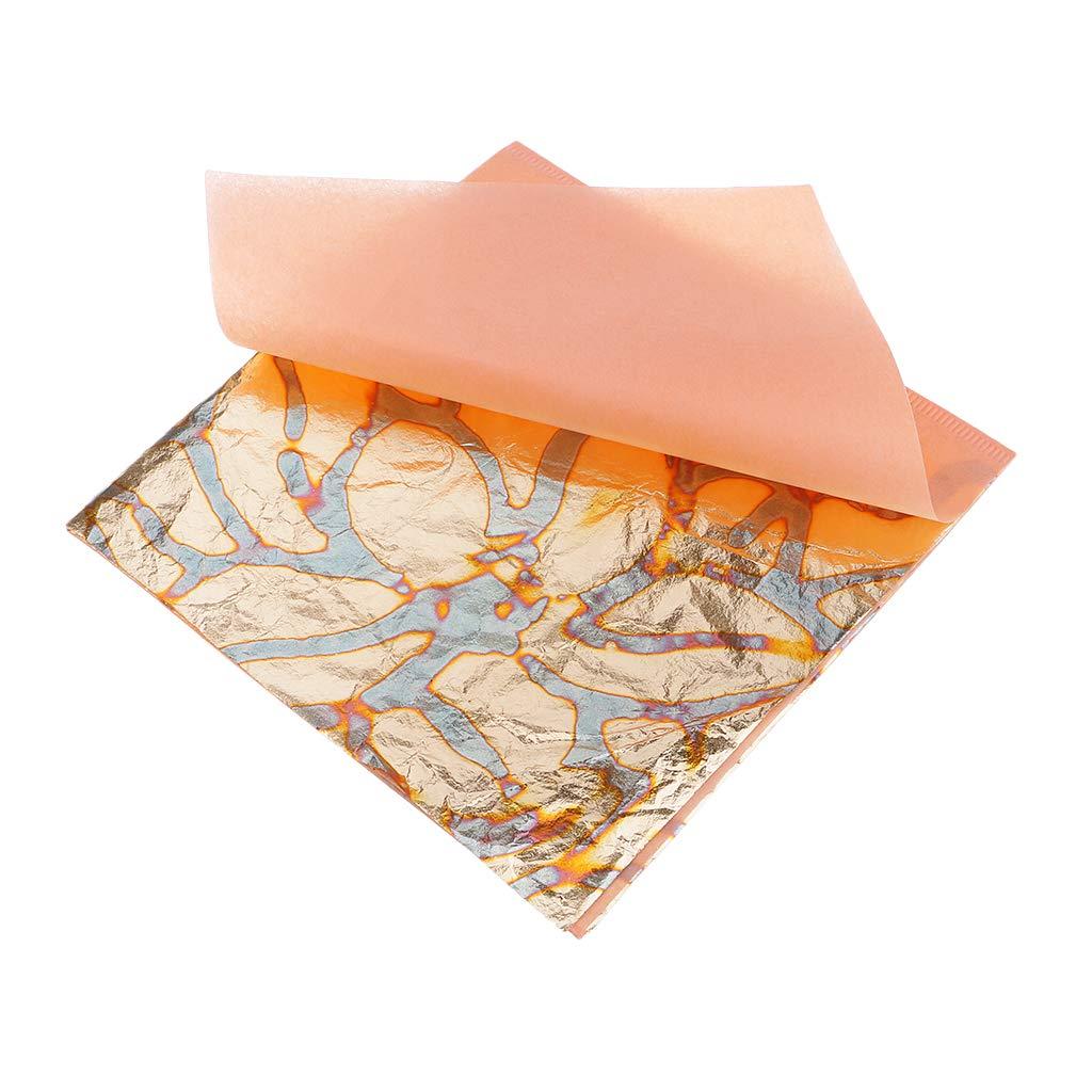 Prettyia Variegated Gold Leaf, 14 x 14cm, 25 Sheets Gold Foil Paper Gold Leaf Gilding Arts, Crafts, Decoration, Furniture, Wall, Create Motifs Designs - 4